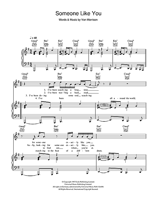 Van Morrison Someone Like You Sheet Music Notes Chords
