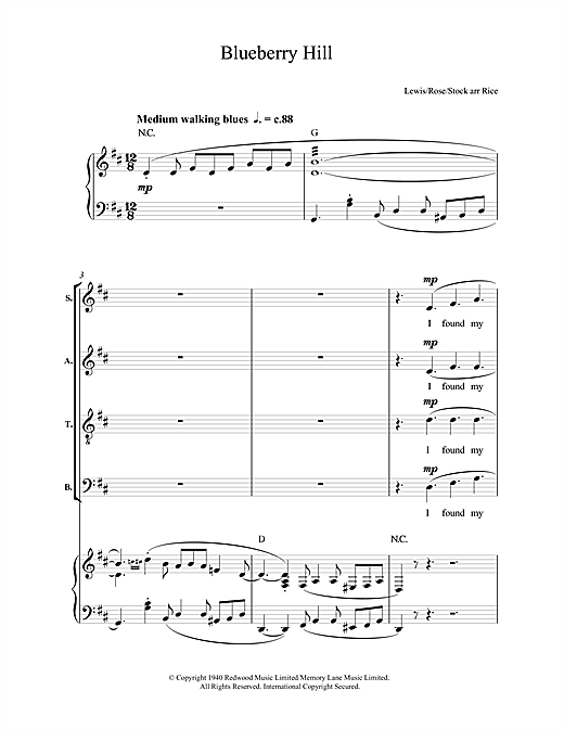 Fats Domino Blueberry Hill Sheet Music Notes Chords Printable