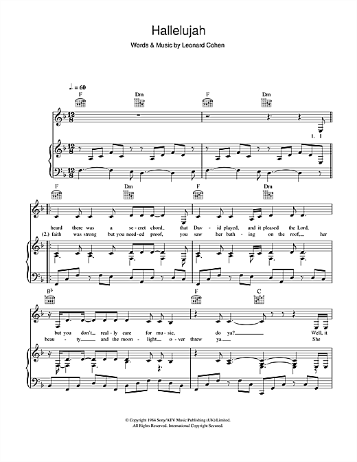 Alexandra Burke Hallelujah Sheet Music Notes Chords Printable
