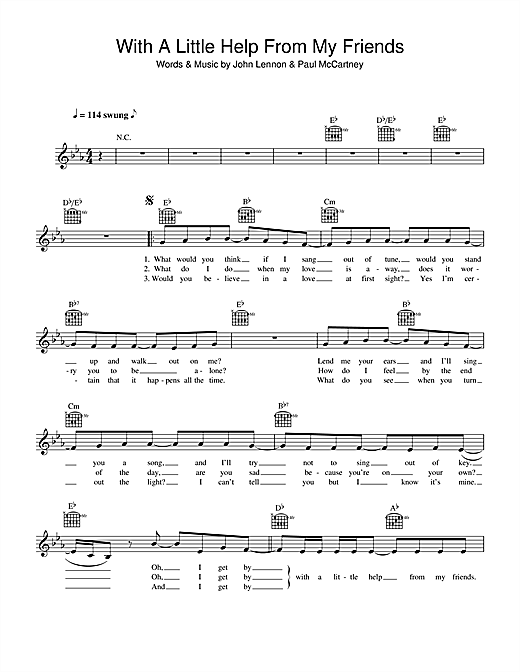 The Beatles With A Little Help From My Friends Sheet Music Notes