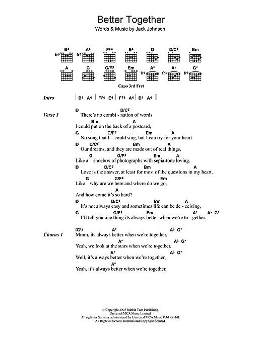 Jack Johnson Better Together Sheet Music Notes Chords Printable