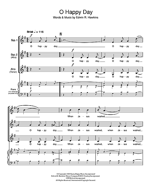 African American Spiritual Oh Happy Day Sheet Music Notes Chords