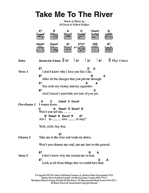 Al Green Take Me To The River Sheet Music Notes Chords