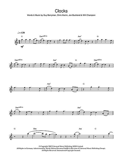 Coldplay Clocks Sheet Music Notes Chords Printable Rock Flute