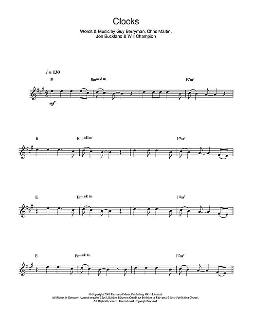 Coldplay Clocks Sheet Music Notes Chords Printable Rock Alto