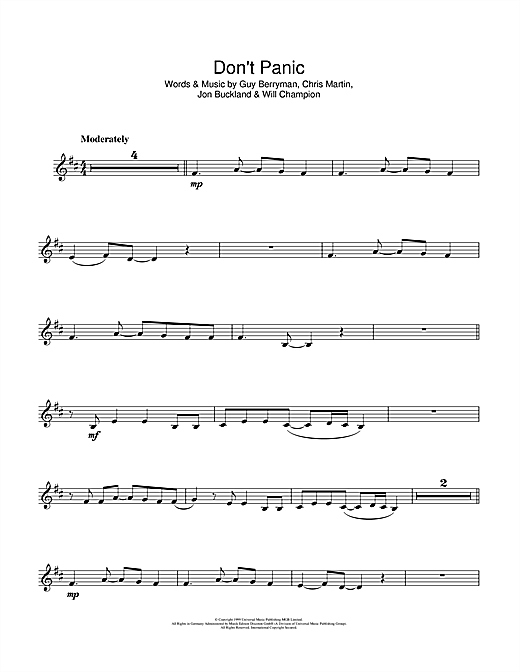 Coldplay Dont Panic Sheet Music Notes Chords Printable Rock