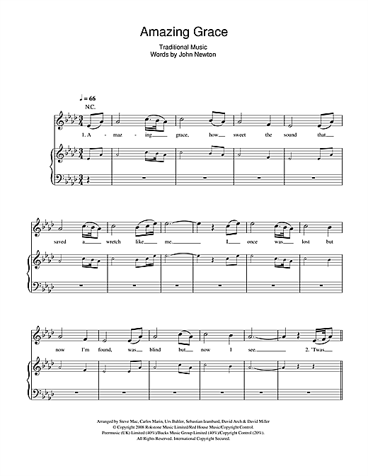 Il Divo 'Amazing Grace' Sheet Music Notes, Chords | Download Printable  Piano, Vocal & Guitar - SKU: 45457