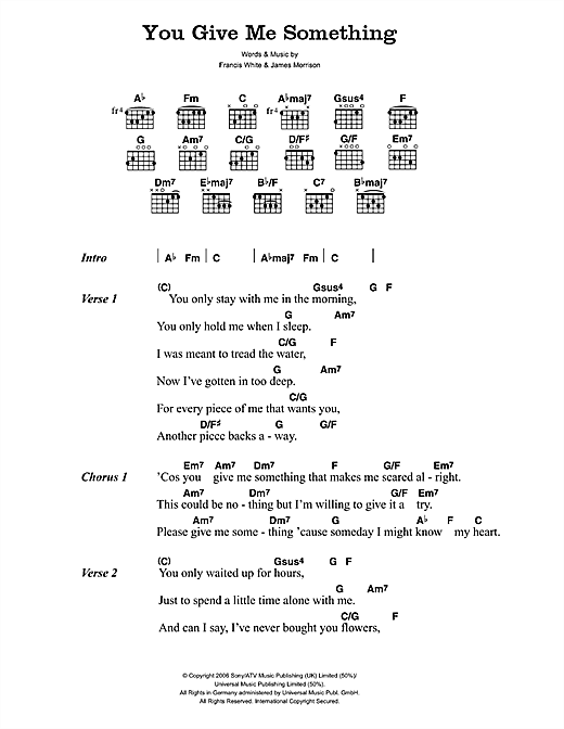 James Morrison You Give Me Something Sheet Music Notes Chords