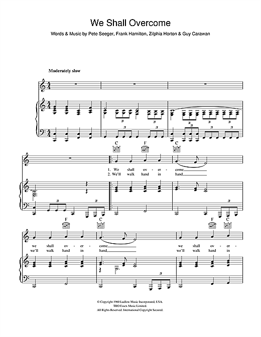 Pete Seeger We Shall Overcome Sheet Music Notes Chords