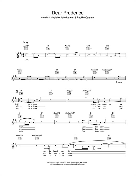 The Beatles Dear Prudence Sheet Music Notes Chords Printable