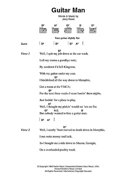 Elvis Presley Guitar Man Sheet Music Notes Chords Printable