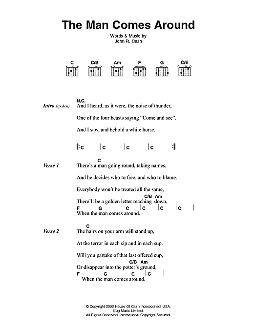 Johnny Cash The Man Comes Around Sheet Music Notes Chords