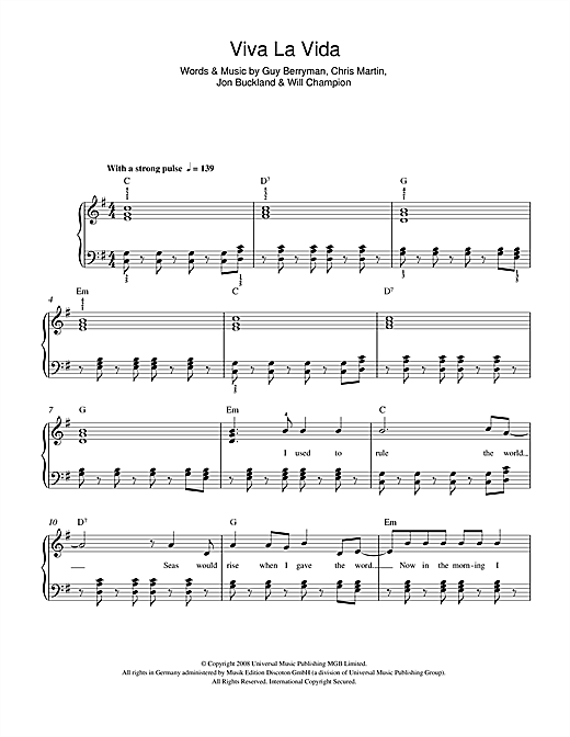 Coldplay Viva La Vida Sheet Music Notes Chords Printable Pop