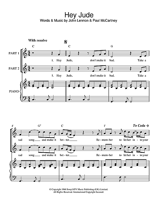 The Beatles Hey Jude Sheet Music Notes Chords Printable Pop 2