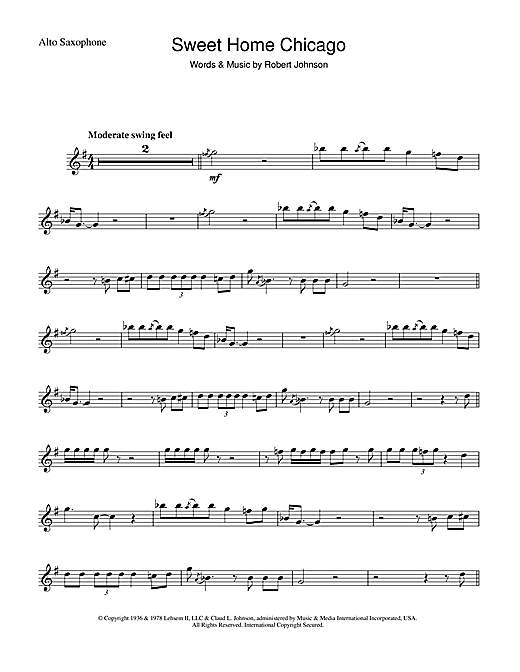 Robert Johnson 'Sweet Home Chicago' Sheet Music Notes, Chords | Download  Printable Alto Saxophone - SKU: 46513
