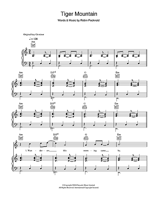 Fleet Foxes Tiger Mountain Peasant Song Sheet Music Notes Chords