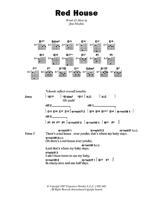 Jimi Hendrix Red House Sheet Music Notes Chords Printable Rock
