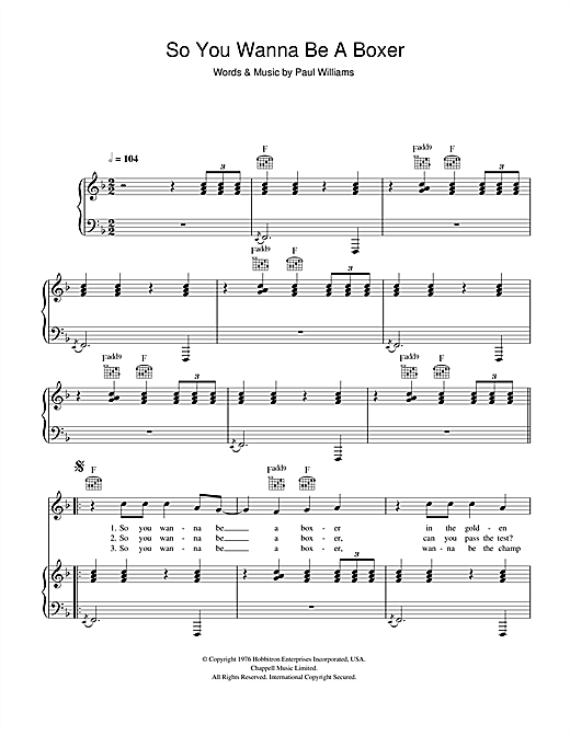 Paul Williams 'So You Wanna Be A Boxer (from Bugsy Malone)' Sheet Music  Notes, Chords | Download Printable Piano, Vocal & Guitar - SKU: 47128