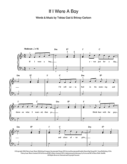 Beyonc If I Were A Boy Sheet Music Notes Chords Printable R