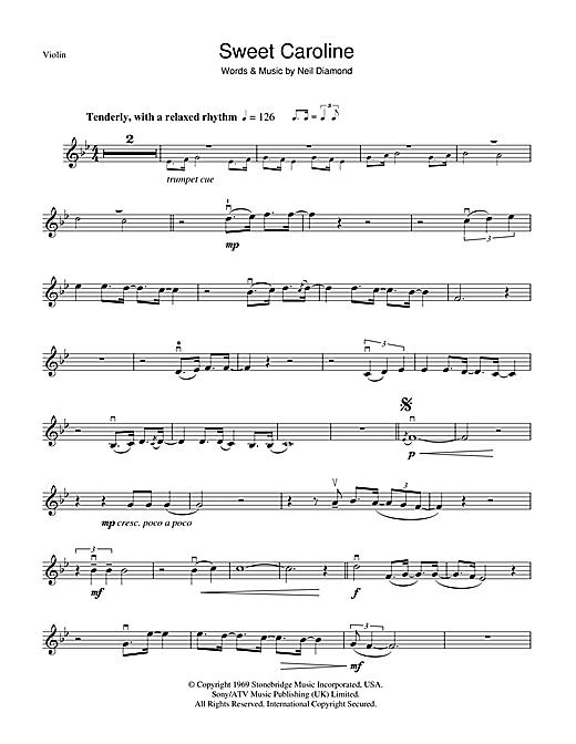 Neil Diamond Sweet Caroline Sheet Music Notes Chords Printable