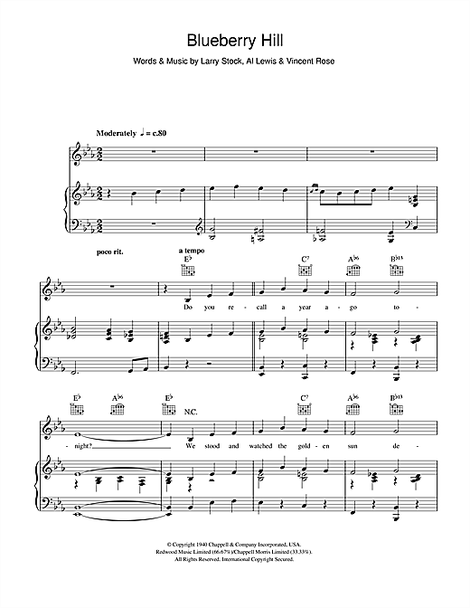 Louis Armstrong Blueberry Hill Sheet Music Notes Chords