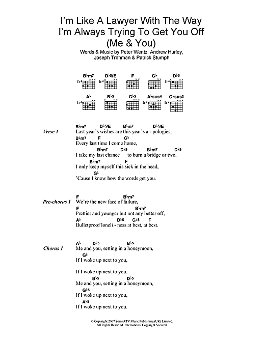 Fall Out Boy 'I'm Like A Lawyer With The Way I'm Always Trying To Get You  Off (Me & You)' Sheet Music Notes, Chords | Download Printable Lyrics &