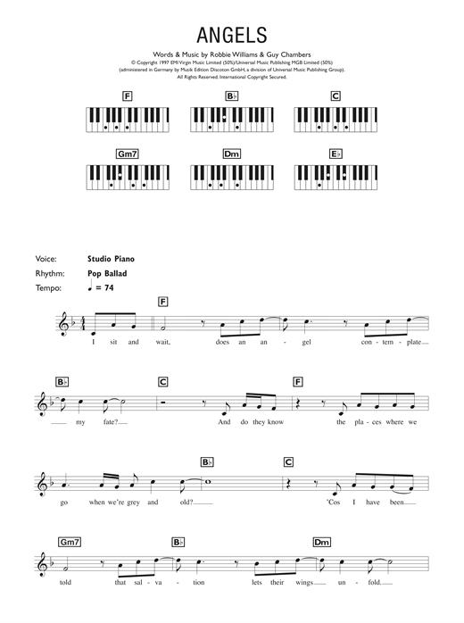 Robbie Williams Angels Sheet Music Notes Chords Printable Pop