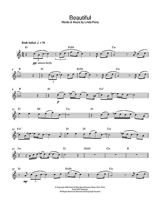 Christina Aguilera Beautiful Sheet Music Notes Chords Printable
