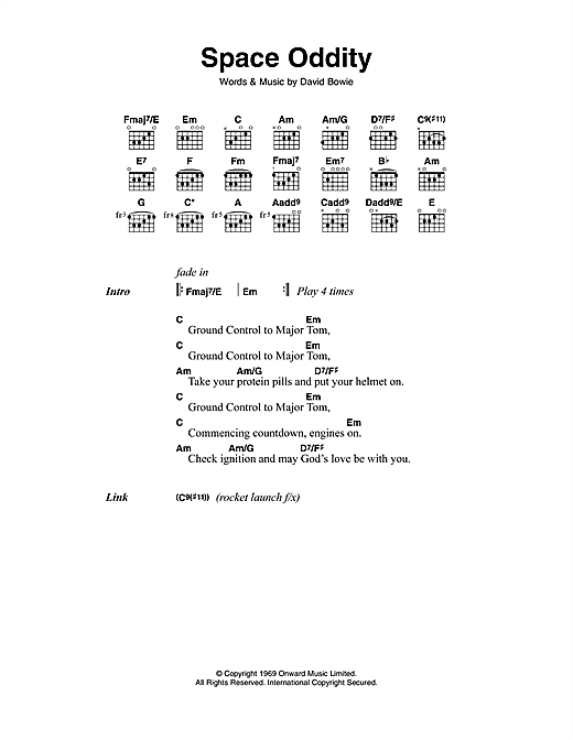 David Bowie Space Oddity Sheet Music Notes Chords Printable