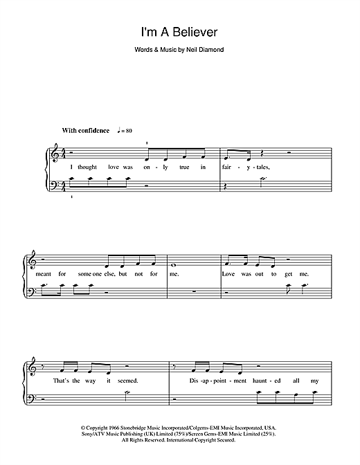 The Monkees Im A Believer Sheet Music Notes Chords Printable
