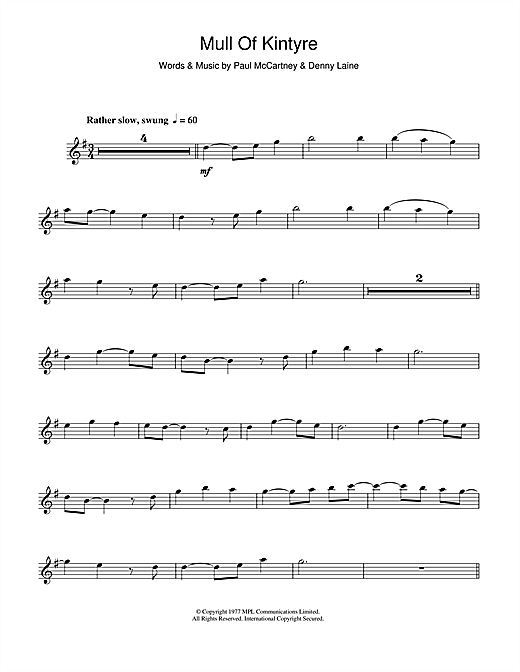 Paul Mccartney Wings Mull Of Kintyre Sheet Music Notes Chords