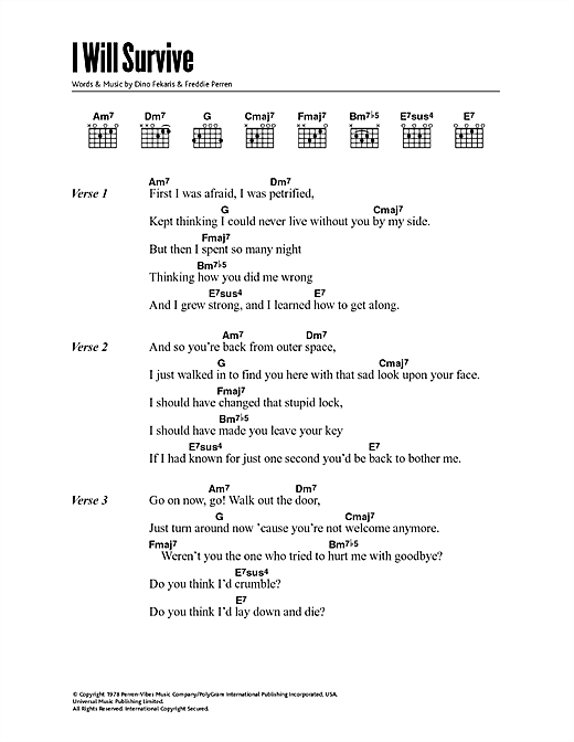 Gloria Gaynor I Will Survive Sheet Music Notes Chords Printable