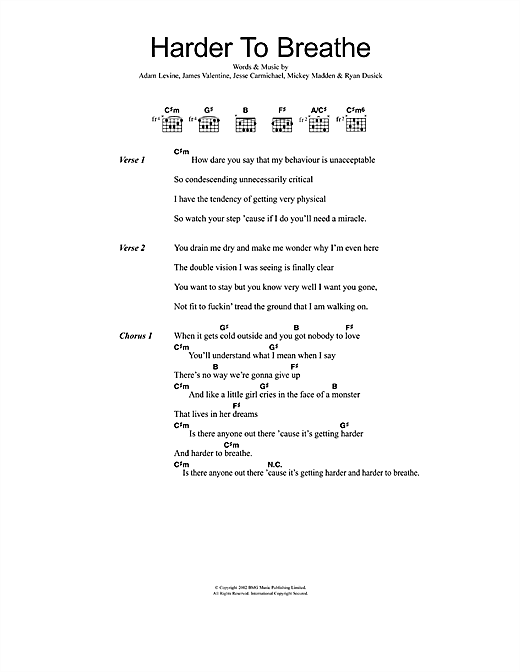 Maroon 5 Harder To Breathe Sheet Music Notes Chords Printable
