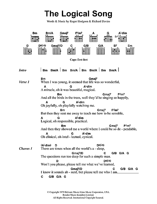 Supertramp The Logical Song Sheet Music Notes Chords Printable
