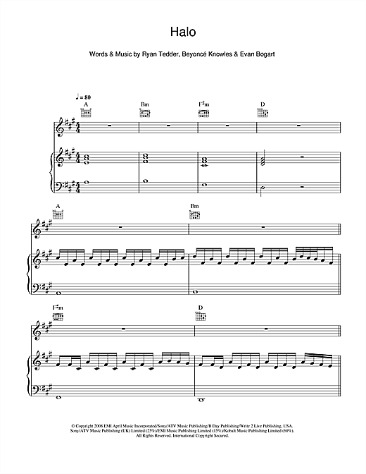 Beyonc Halo Sheet Music Notes Chords Printable R B Piano