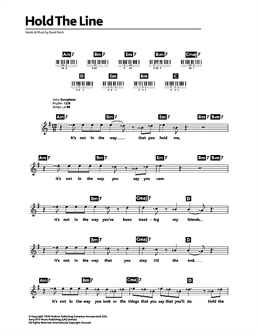 Toto Hold The Line Sheet Music Notes Chords Printable Rock