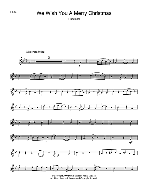 Christmas Carol, We Wish You A Merry Christmas, Flute, sheet music, piano