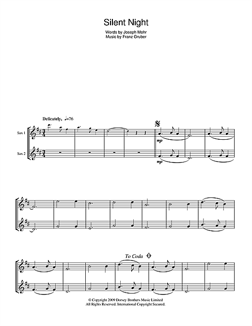 Franz Gruber Silent Night Sheet Music Notes Chords Printable