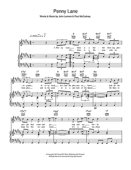 The Beatles Penny Lane Sheet Music Notes Chords Printable Rock