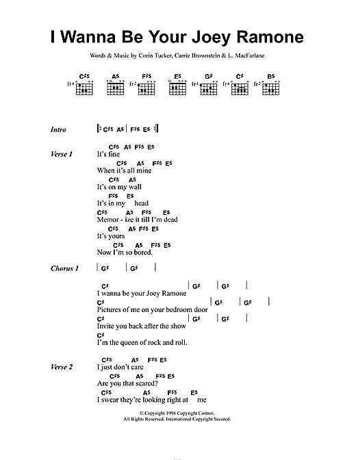 Sleater Kinney I Wanna Be Your Joey Ramone Sheet Music Notes