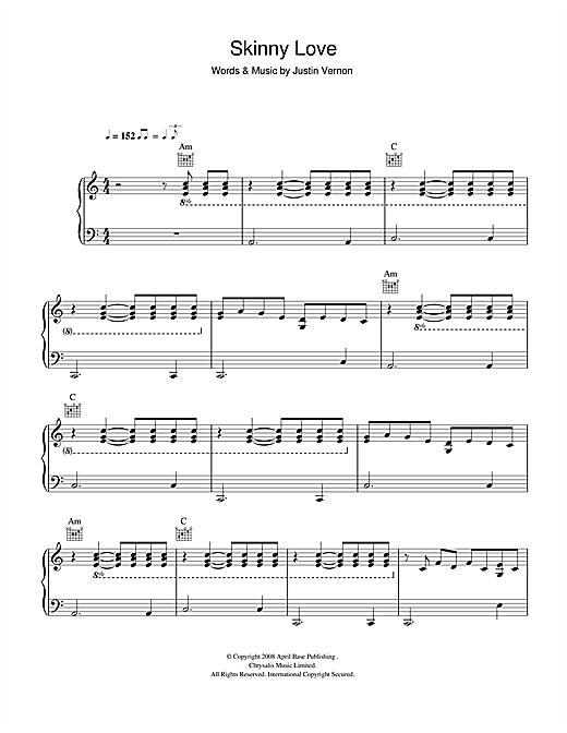 Bon Iver Skinny Love Sheet Music Notes Chords Printable Folk