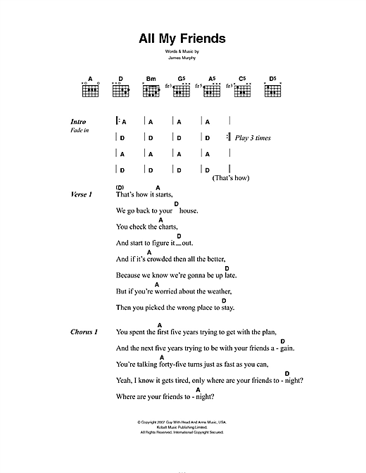 Lcd Soundsystem All My Friends Sheet Music Notes Chords