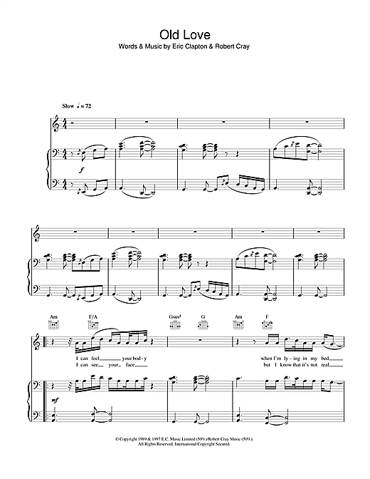 Eric Clapton Old Love Sheet Music Notes Chords Printable Rock