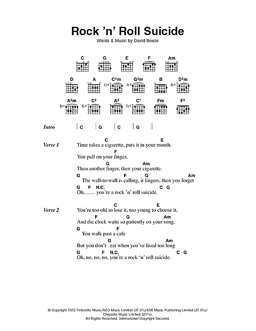 David Bowie Rock N Roll Suicide Sheet Music Notes Chords