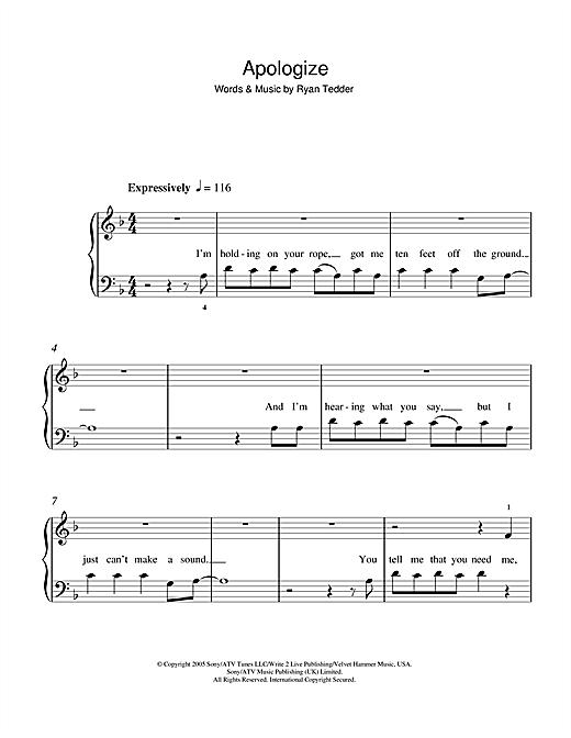 Onerepublic Apologize Sheet Music Notes Chords Printable Pop 5