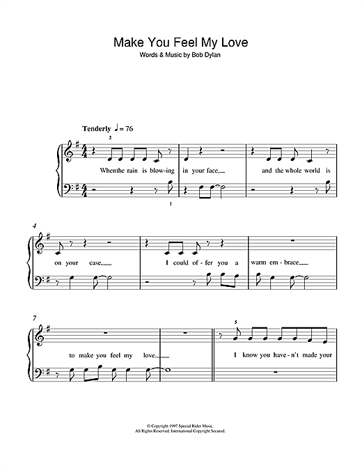 Exelent Make You Feel My Love Piano Chords Composition Beginner