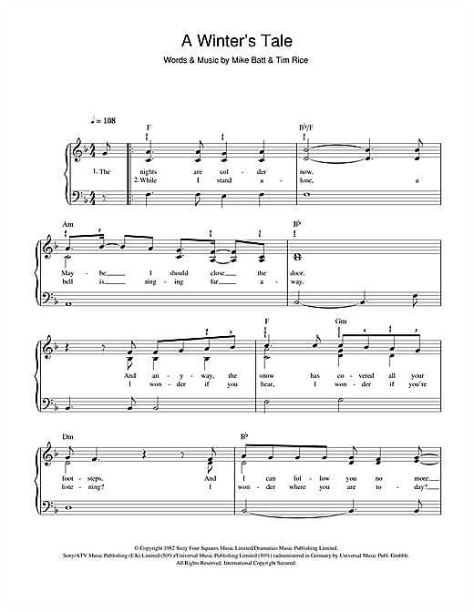 David Essex A Winters Tale Sheet Music Notes Chords Printable