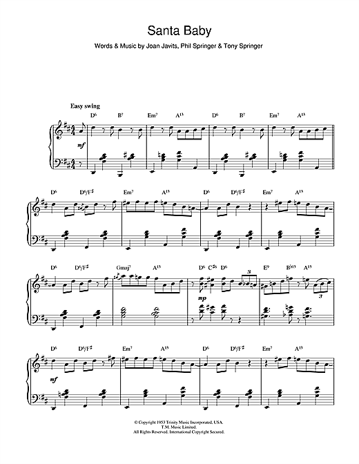 Eartha Kitt Santa Baby Jazz Version Sheet Music Notes Chords