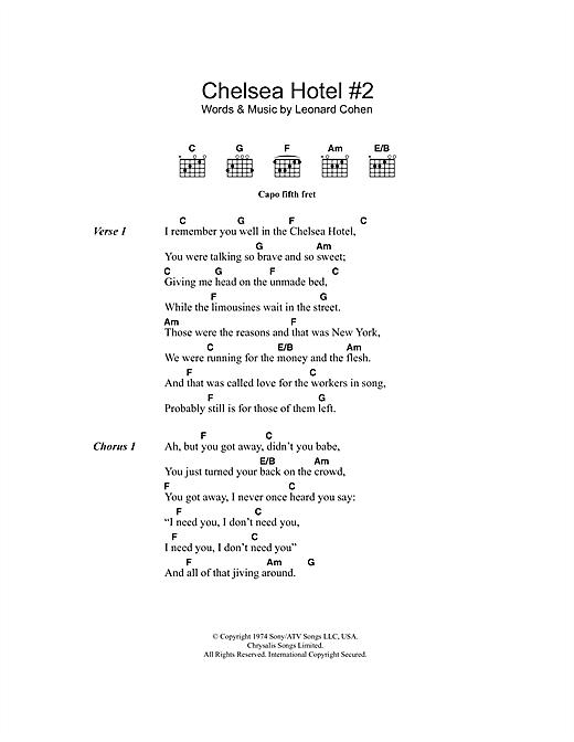 Leonard Cohen Chelsea Hotel 2 Sheet Music Notes Chords
