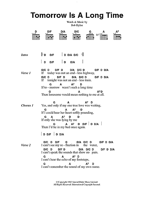 Bob Dylan Tomorrow Is A Long Time Sheet Music Notes Chords